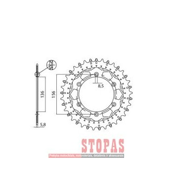 SUNSTAR SPROCKETS Žvaigždė BETA/GAS GAS/SUZUKI/SHERCO/HUSQVARNA
