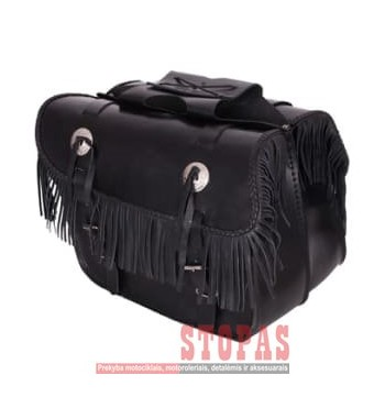Leather side bags FRINGES ADRENALINE, colour black (25 l)