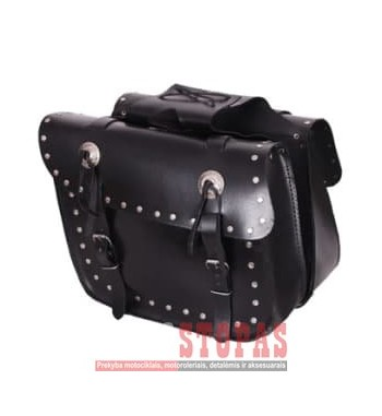 Leather side bags STUDS ADRENALINE, colour black (25 l)