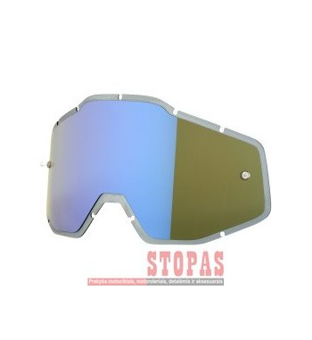 100 % STIKLIUKAS AKINIAMS MIRROR BLUE/SMOKE ANTI-FOG INJECTED REPLACEMENT
