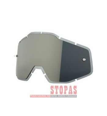 100 % STIKLIUKAS AKINIAMS MIRROR SILVER/SMOKE ANTI-FOG INJECTED REPLACEMENT