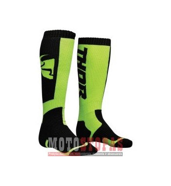 THOR kojinės YOUTH MX S8Y SOCK BLACK/LIME ONE SIZE