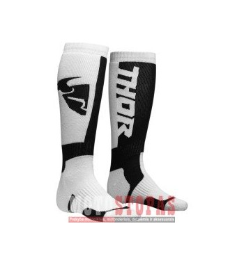THOR YOUTH MX S8Y SOCK WHITE/BLACK ONE SIZE